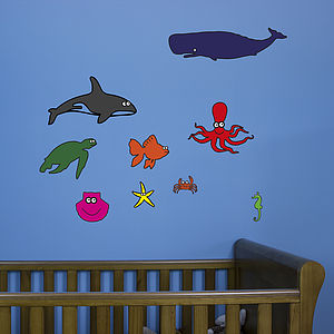 Ocean Creatures Sticker Pack For Kids - wall stickers