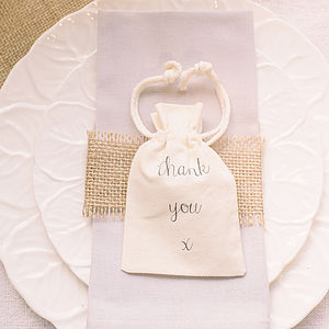 'Thank You' Cotton Bag For Wedding Favours - ribbon & wrap