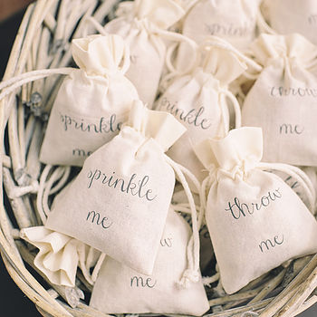 Cotton Bag For Wedding Petal Confetti