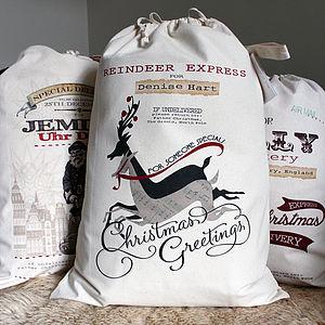 Personalised Santa Sack Reindeer Design - gift bags & boxes