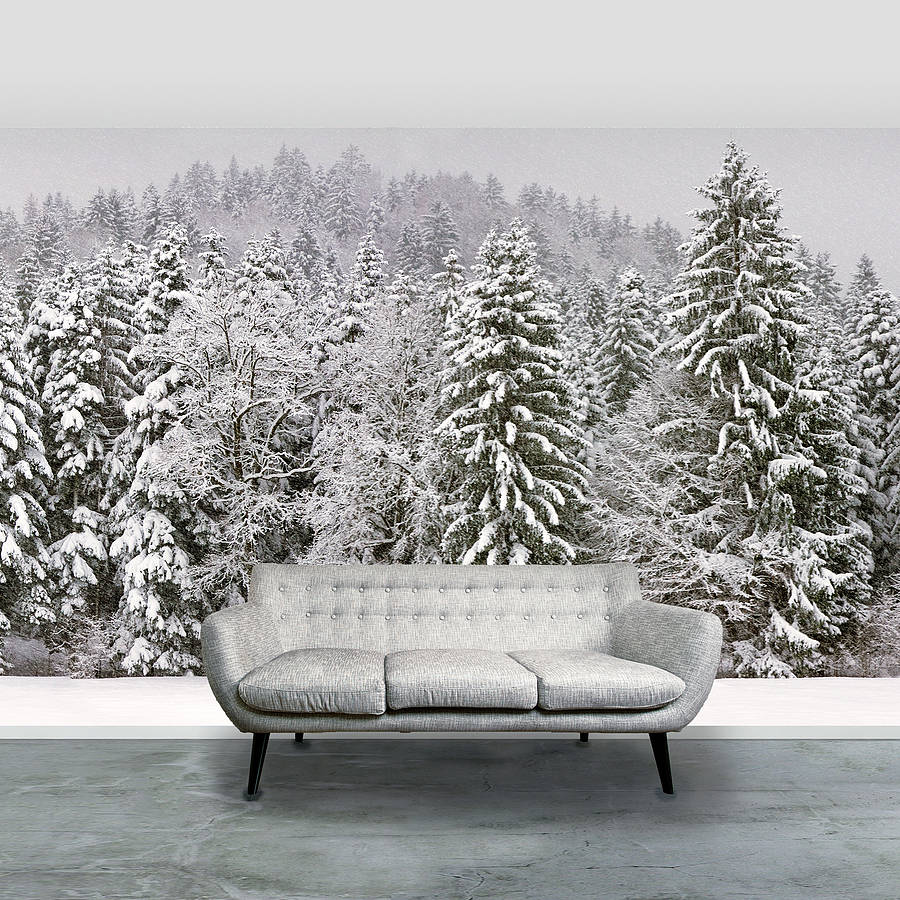 Christmas snowy trees self adhesive wallpaper by oakdene for Designer mural wallpaper