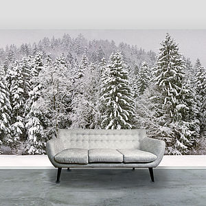 'Snowy Trees' Self Adhesive Wallpaper Mural - arctic christmas