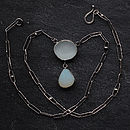 Sea Glass Necklace With Hand Made Chain