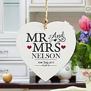 Mr And Mrs Personalised Wooden Heart