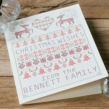 Personalised Cross Stitch Christmas Card with the name Bennett added