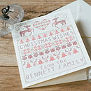 Personalised Cross Stitch Christmas Card with the name Bennett added. Plus cream envelope.