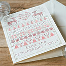 Personalised Cross Stitch Christmas Card with the name Petherbridge added. Plus our cream envelopes.