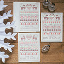 Three Personalised Cross Stitch Christmas Cards with cream envelope