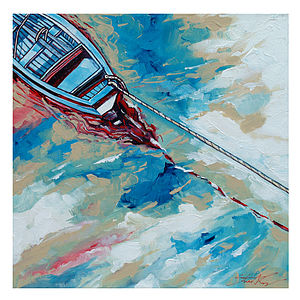 Boat And A Rope Canvas Painting - canvas prints & art