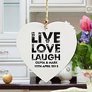 Live, Love, Laugh Personalised Wooden Heart