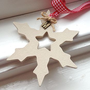 Snowflake with 'St. Nick Red' Gingham Ribbon