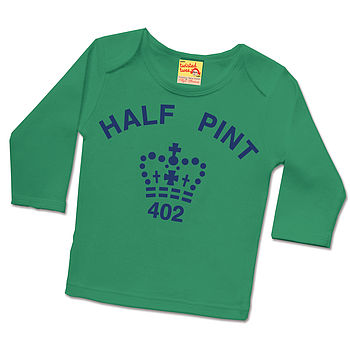 Half pint long sleeved t shirt green / navy