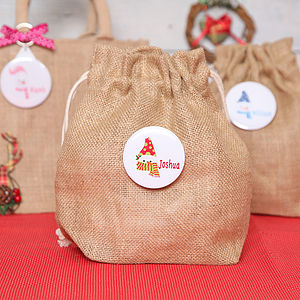 Christmas Snowman Personalised Mini Jute Sack - wrapping