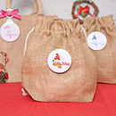 Christmas Snowman Personalised Mini Jute Sack
