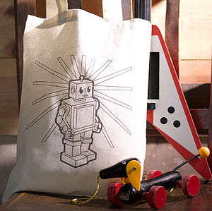 Retro Robot Colour In Tote Bag - bags, purses & wallets