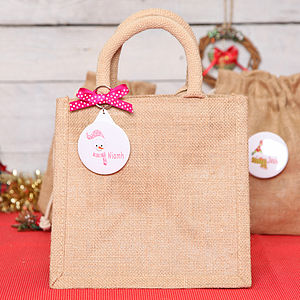 Christmas Snowman Personalised Jute Bag - bags, purses & wallets