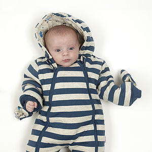 Boy's Striped Robot Pramsuit - babies' coats & jackets