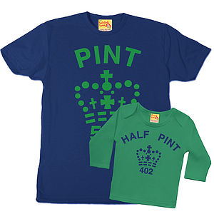 Pint And Half Pint T Shirts Blue / Green - view all gifts for him