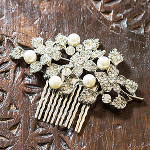 Tamsin Crystal Leaf And Pearl Hair Comb - head pieces