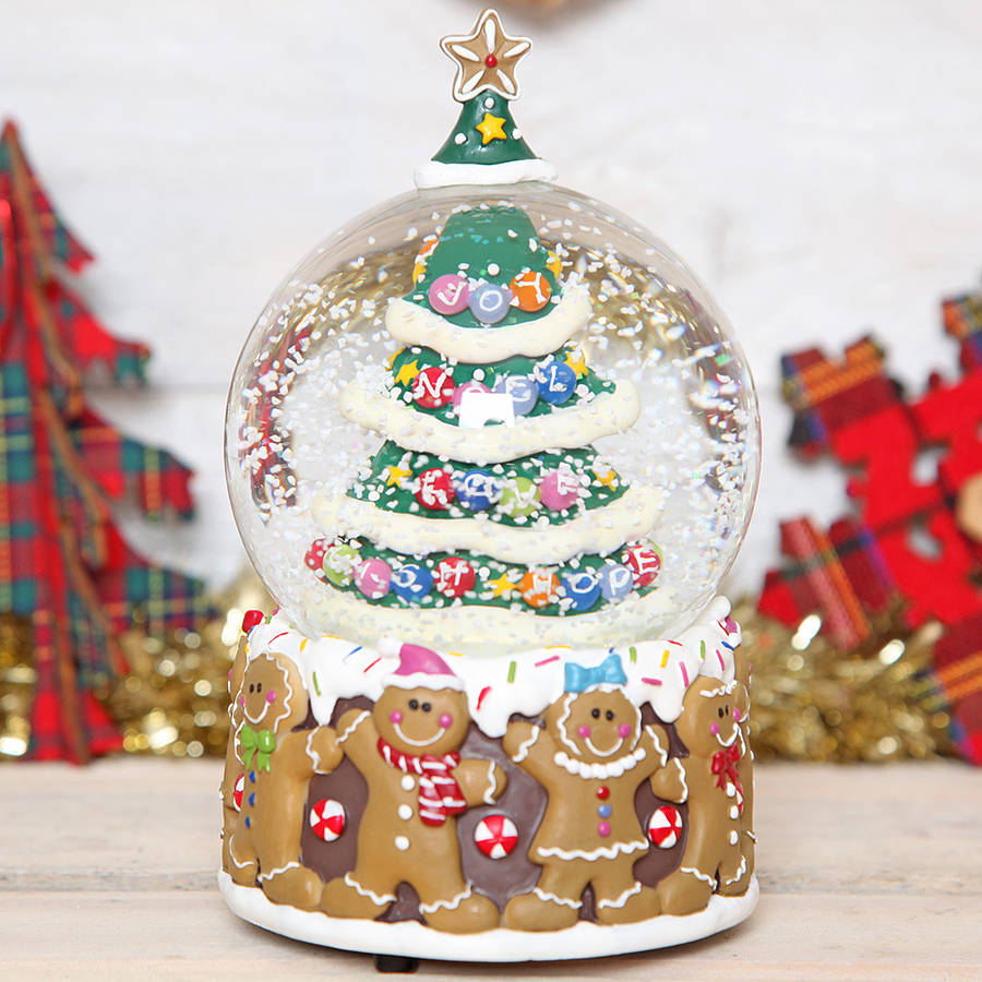 Christmas Tree Drinking Water: Christmas Tree Gingerbread Man Musical Snow Globe Dome By