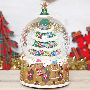 Christmas Tree Gingerbread Man Musical Snow Globe Dome - snow globes & ornaments