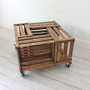 Crate Coffee Table On Castors With Brakes - furniture