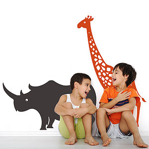 Giraffe And Rhinoceros Safari Wall Stickers - children's room