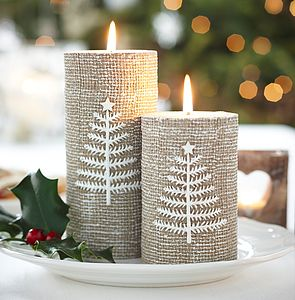 Hessian Style Christmas Candle - lighting
