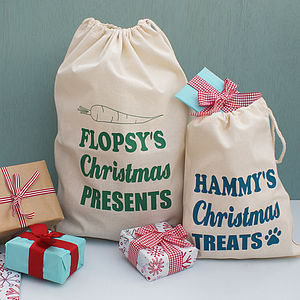 Personalised Christmas Small Animal Gift Sack - stockings & sacks