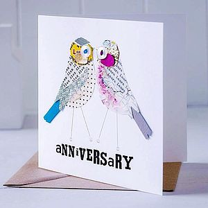 Personalised Love Bird 'Anniversary' Card - wedding, engagement & anniversary cards