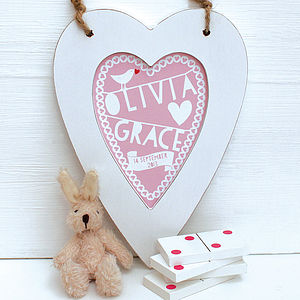 Personalised New Baby Heart Print Pink - wall hangings for children