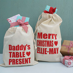 Personalised Gift Or Table Present Bag - stockings & sacks