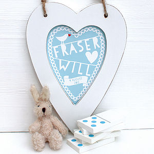 Personalised New Baby Heart Framed Blue - gifts for babies