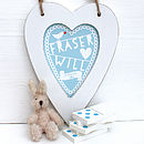 Personalised New Baby Heart Print Blue