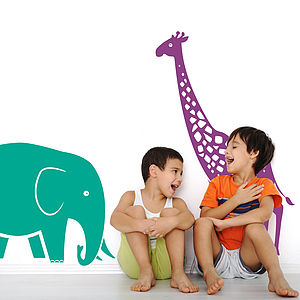 Giraffe And Elephant Safari Wall Stickers - office & study