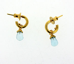 Silver Or Gold Mini Hoop Blue Topaz Earrings