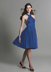 Royal Blue Multiway Knee Length Dress - wedding fashion