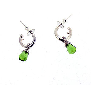 Silver Or Gold Mini Hoop Peridot Earrings