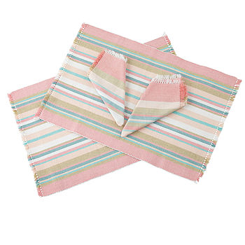 Vintage Stripes Mats And Napkins Set Of Two