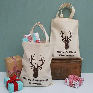 Personalised Stag Christmas Mini Shopper Bag - bags, purses & wallets