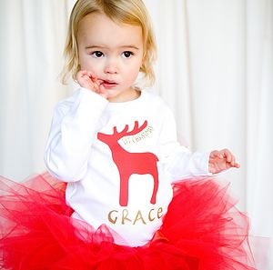 Personalised 'Rudolf First Christmas' T Shirt - clothing