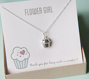 Flower Girl Silver Cupcake Necklace - flower girl jewellery