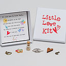 'Little Love Kit' - showing open box with detail of charms and words in the base of the box