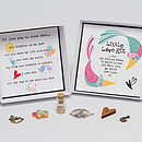 'Little Love Kit' - showing open box with detail of the charms, words in the base of the box and example personalised message