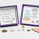 'Little Mum Kit' - showing open box with detail of the charms, words in the base of the box and example personalised message