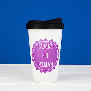 Personalised Badge Travel Mug - gifts for her