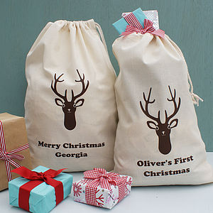 Personalised Stag Christmas Sack - stockings & sacks