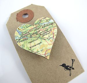 Heart Shaped Custom Vintage Map Brooch - women's jewellery