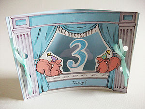 Mini Theatre Age Three Card - birthday cards
