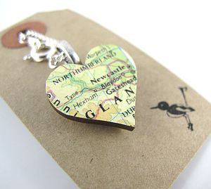 Heart Shaped Custom Vintage Map Necklace - gifts for her